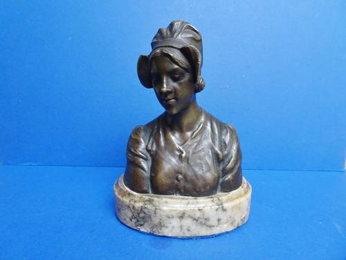 Bronze Art Nouveau Bust by Eutrope Bouret French. Signed (1 of 12)