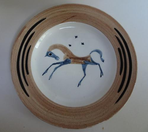 Clarice Cliff Bizarre 'Artists in Industry' Plate. 1934. 'Chevaux'. John Armstrong (1 of 8)