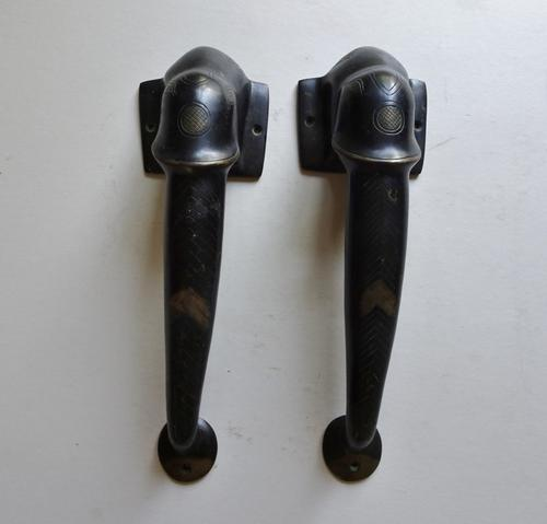 Early 20th Century Gilt & Ebonised Bronze Elephant Door Handles. Indian / African Colonial Style. Unique (1 of 16)
