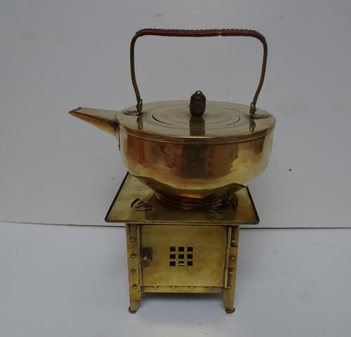 Jan Eisenloffel Brass Kettle on Stand with Spirit Burner. Secessionist. Early 20th Century (1 of 16)