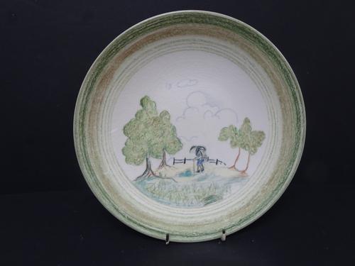 Clarice Cliff Crayon Scenes Plate.  'Hiker' (1 of 10)