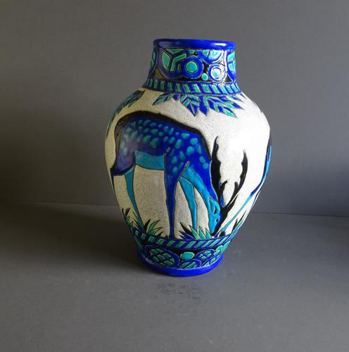 Large Boch Frères Vase 'Biches Bleus' Charles Catteau C.1925 (1 of 1)