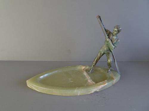 Art Deco Figure on Onyx Base Spelter (1 of 1)