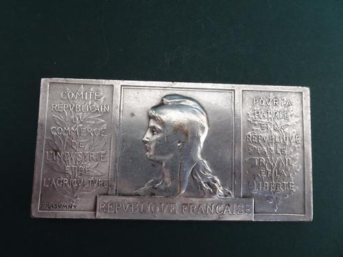 Antique Silvered Bronze French Medallion, Republique Francaise, Felix Rasumny c.1900 (1 of 1)