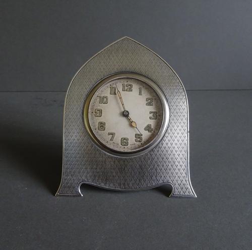 Art Deco Silver Desk Clock, Birmingham 1930 (1 of 1)