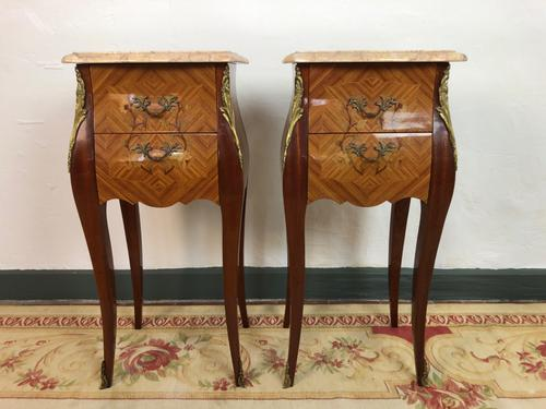 French Marquetry Bedside Tables Cabinets with Marble Tops Louis XV Bombe Style (1 of 14)