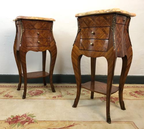 French Marquetry Bedside Tables Cabinets with Marble Tops Louis XVI Bombe Style (1 of 17)