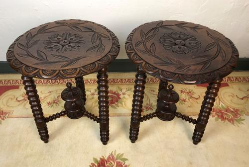 Antique Pair of Gypsy Bobbin End Tables with Carved Tops 19th Century (1 of 12)