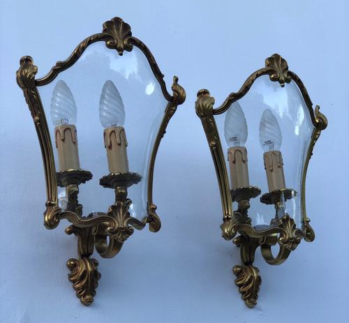 French Gilded Bronze Twin Light Sconces Wall Lights with Curvaceous Glass (1 of 12)