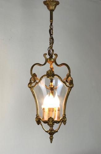 French Gilded Bronze Triple Light Hall Lantern (1 of 9)
