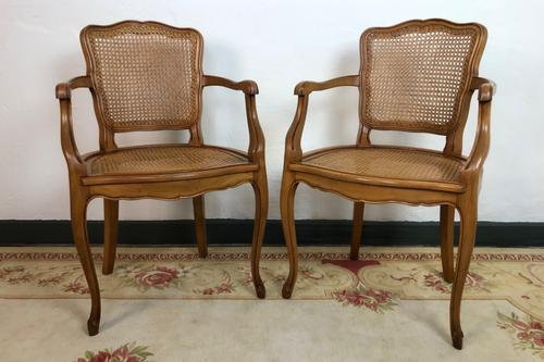 Vintage French Pair of Bergère Cane Dining Carver Chairs Louis Style (1 of 10)