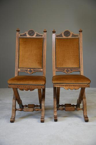 Pair of Antique Ecclesiastical Side Chairs (1 of 12)