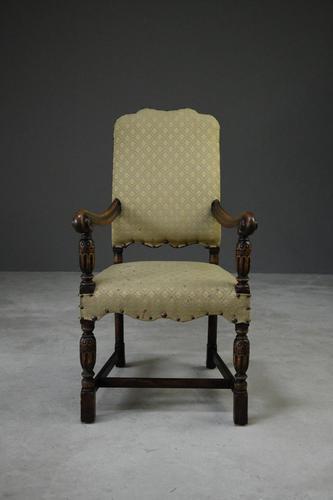 Oak Open Arm Carolean Style Armchair c.1930 (1 of 12)