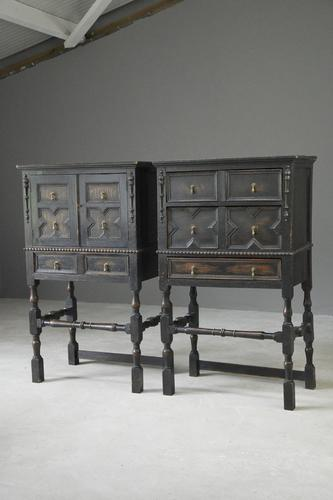 Pair of Jacobean Style Oak Cabinets (1 of 13)