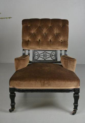 Antique Edwardian Small Ebonised Button Back Armchair (1 of 1)