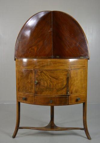 Mahogany 19th Century Bow Front Corner Washstand (1 of 1)