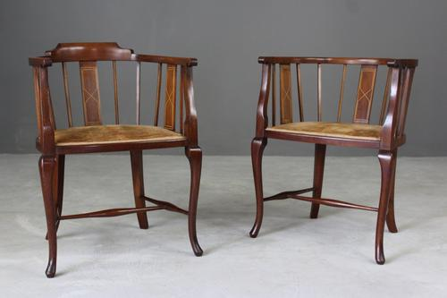Pair of Edwardian Tub Chairs (1 of 1)