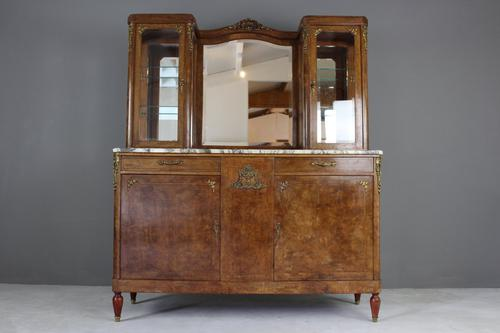 Antique French Burr Walnut & Marble Vitrine c.1900 (1 of 1)