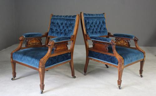Pair of Antique Upholstered Rosewood Armchairs (1 of 1)