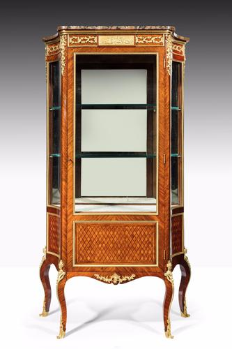 Exceptional Kingwood 19th Century Parquetry Concave Shaped Vitrine Display Cabinet (1 of 13)