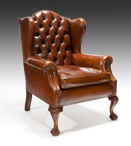 Quality 19th Century Mahogany Leather Wing Back Armchair (1 of 1)