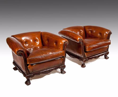 Magnificent Pair of 19th Century Leather Armchairs (1 of 1)