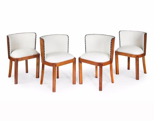 Set of Four Walnut & Leather Art Deco Chairs (1 of 6)