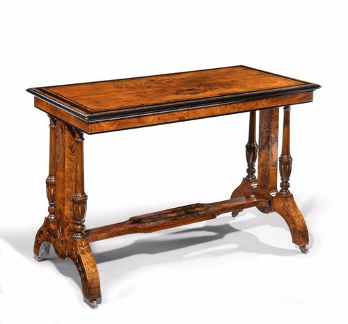 Quality Antique Walnut & Ebony Inlaid Table c.1860 (1 of 1)
