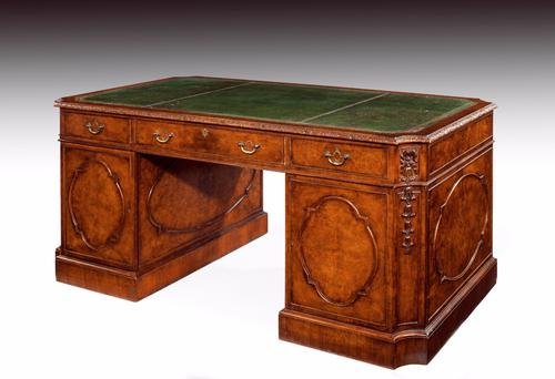 Very Good Quality Burr Walnut Pedestal Desk (1 of 1)
