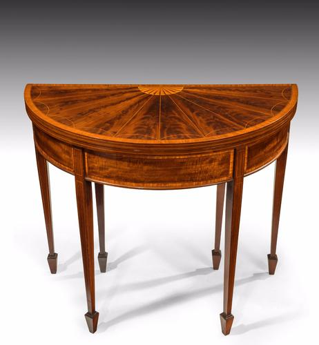 Fine 19th Century Inlaid Demi Lune Card Table (1 of 1)