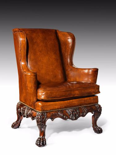 Handsome Late Victorian Leather Carved Wing Chair (1 of 1)