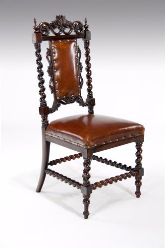 Good Quality Victorian Rosewood Leather Side Chair (1 of 10)