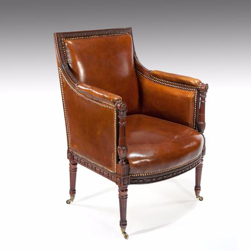 Fine Quality Antique Carved Mahogany Leather Armchair (1 of 1)