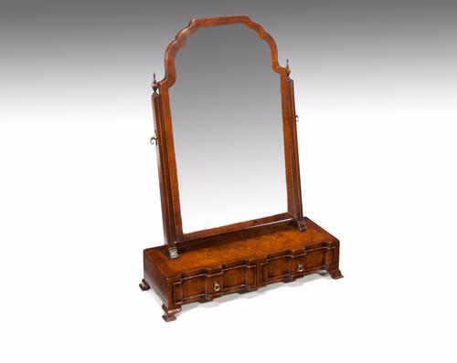 Fine Quality Antique Burr Walnut Shaped Front Dressing / Toilet Mirror (1 of 1)