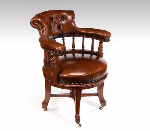 Quality Victorian Oak Leathered Revolving Desk Chair by S & H Jewell (1 of 1)
