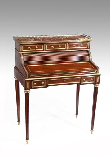 Fine Louis XVI Style Mahogany & Brass Tambour Ladies Writing Desk (1 of 1)