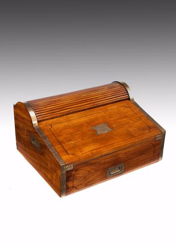 Quality 19th Century Military Campaign Camphor Wood Roll Top Writing Slope (1 of 1)