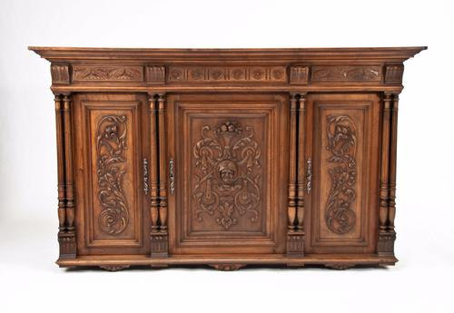 19th Century Carved Hanging Walnut Cabinet (1 of 1)