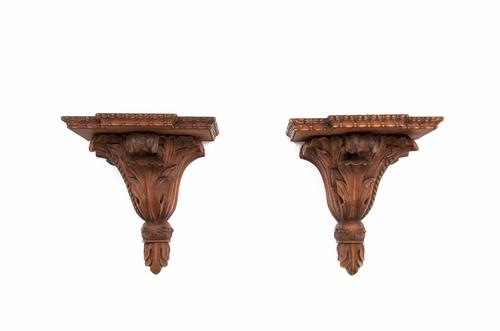 Good Pair of Mahogany Carved Wall Brackets (1 of 1)