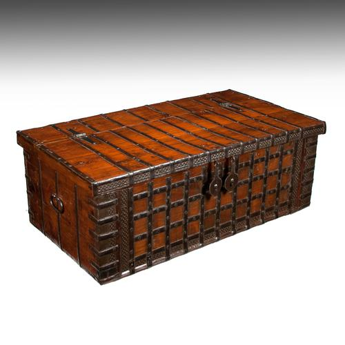 Early 19th Century Elm Anglo-Indian Iron Strapped Chest – Trunk (1 of 1)