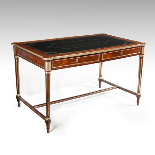 Elegant 19thc French Mahogany & Brass Antique Writing Table Louis XVI Manner (1 of 1)