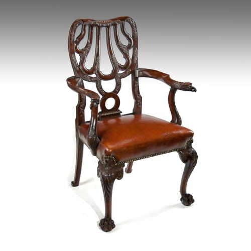Fine Quality 19thC Leather Upholstered Desk Chair after a Design by Giles Grendey (1 of 18)