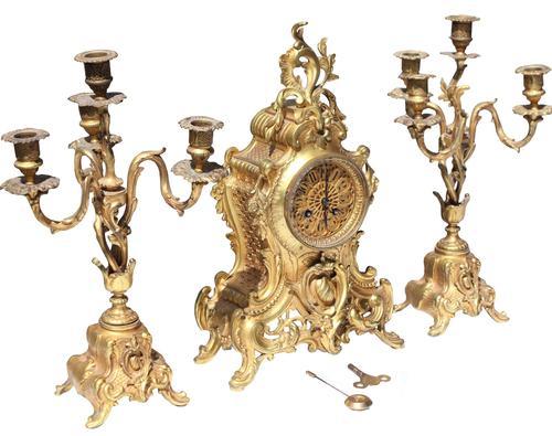 19th Century French Gilt Metal Clock Garniture (1 of 5)