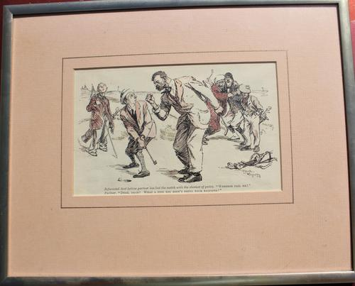 20th Century Humorous Golf Lithograph 'the Infuriated Scot' (1 of 3)