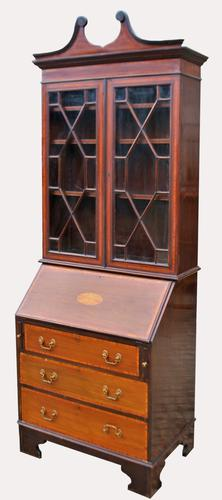 An Edwardian Mahogany and Inlaid Bureau Bookcase (1 of 7)