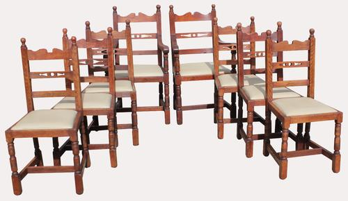 A Lovely Set of Eight Victorian Farhouse Oak Dining Chairs (1 of 7)