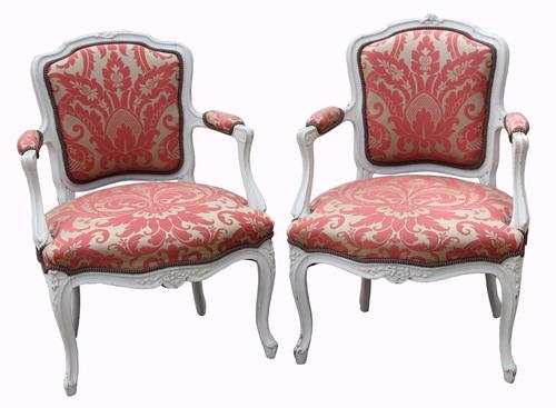 Pair of 19th Century French Painted Armchairs (1 of 1)