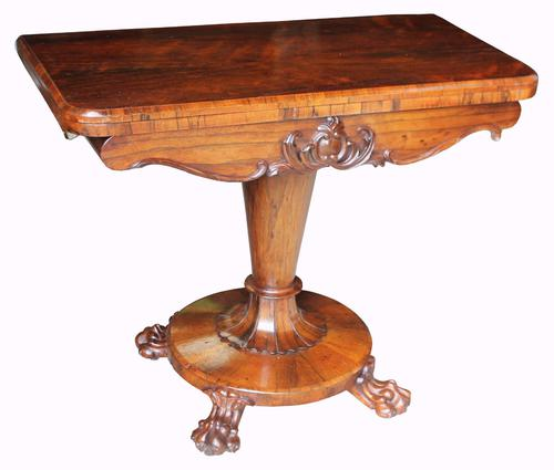 William IV Rosewood Fold-over Card Table (1 of 1)
