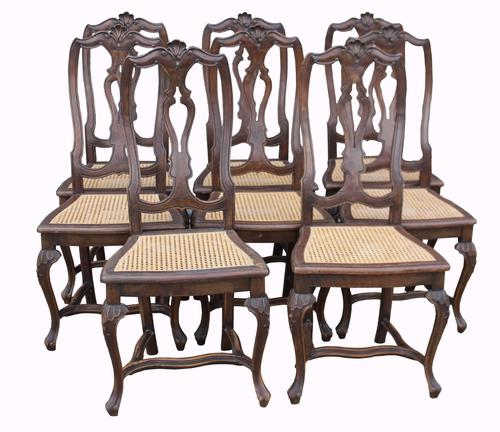 Set of Eight French Walnut Dining Chairs C.1890 (1 of 1)