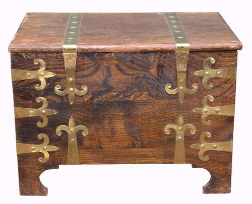 Brass Bound Oak Coal Box c.1950 (1 of 1)